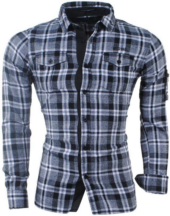 Zwart Flanellen Dalong Mz72 Overhemd Geblokt Heren Borstzakken HqYwgx