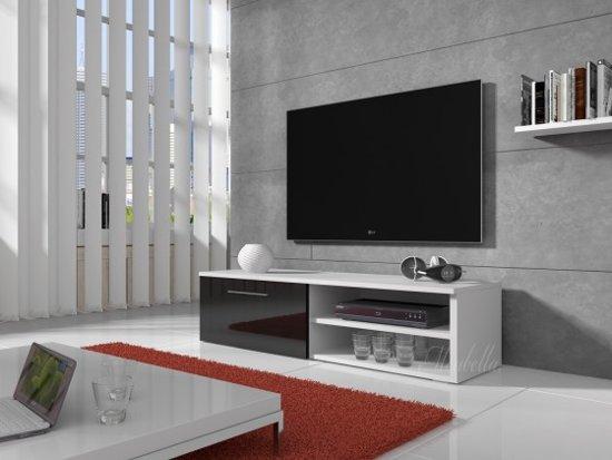Tv Kast Zwart Wit.Bol Com Meubella Tv Meubel Bash Zwart Wit 120 Cm