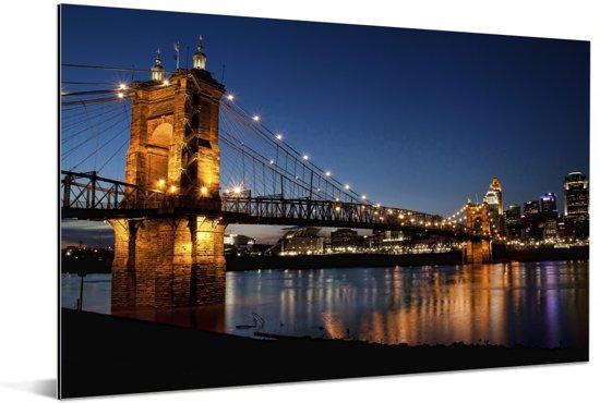 Hangbrug over de rivier van Ohio in de Verenigde Staten Aluminium 60x40 cm - Foto print op Aluminium (metaal wanddecoratie)