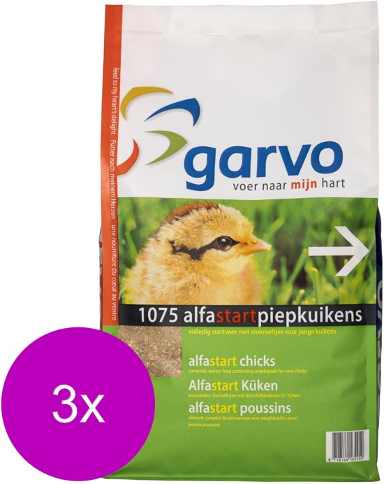 Garvo Alfastart Piepkuikens - Kippenvoer - 3 x 4 kg