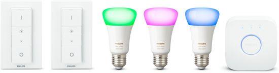 Philips Hue starterkit - wit en gekleurd licht - E27 - 3 lampen - 1 bridge - 2 dimmerswitch