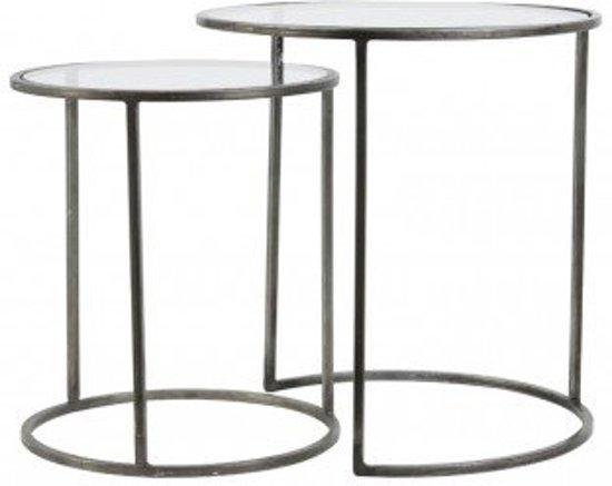 Ronde Salontafel Glas Metaal.Bol Com Salontafel Bijzettafel Set 2 Glas Vintage Look Zilver Rond