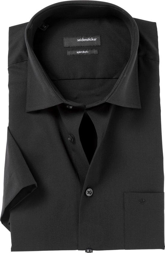 Seidensticker Regular Fit overhemd korte mouw - zwart - boordmaat 47