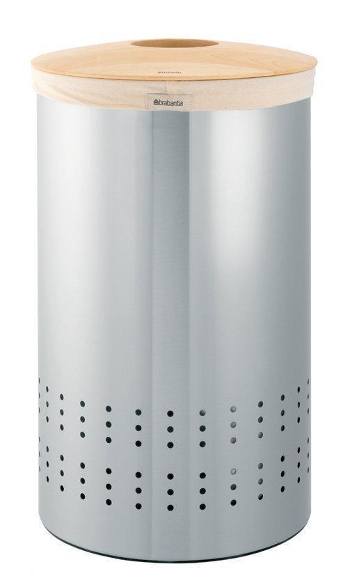 Brabantia Wasbox 50 Liter Matt Steel.Wasbox 50 Liter Met Woodline Deksel Matt Steel Fingerprint Proof