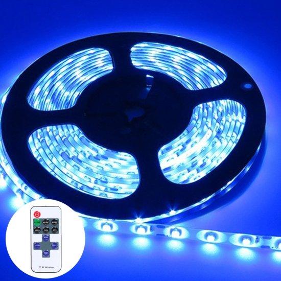 YWXLLight dimbare Light Strip Kit  SMD 2835 5m LED lint  waterdicht voor indoor  11key afstandsbediening LED strip lamp 300LEDs U.S. plug (blauw)