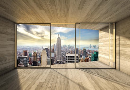 Fotobehang Window City Skyline Empire State NewYork | XXXL - 416cm x 254cm | 130g/m2 Vlies