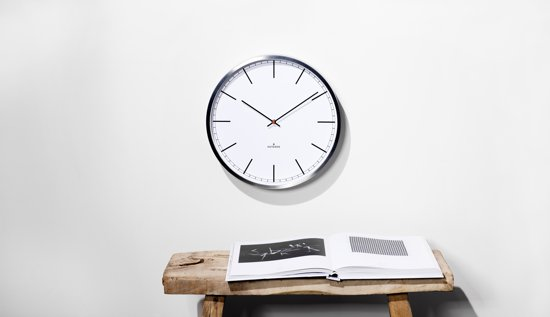 Huygens wall clock one25 stainless steel white index