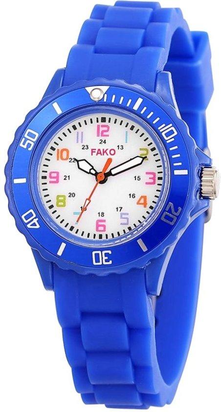 Fako Bijoux® - Kinderhorloge - Siliconen - Blauw