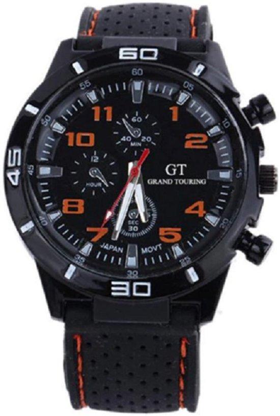 GT sportief - Tiener Horloge - 44 mm - Siliconen - Zwart/Oranje