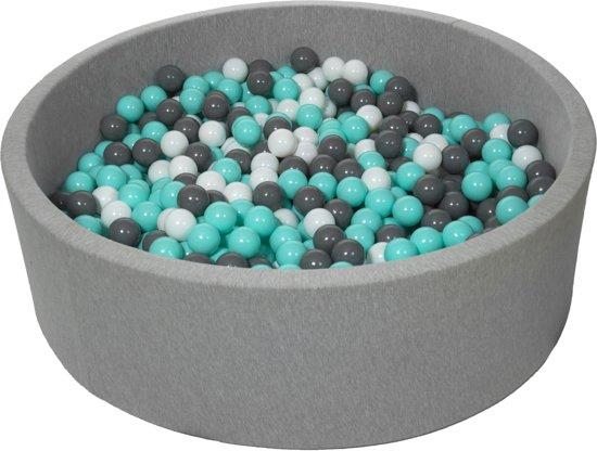 Zachte Jersey baby kinderen Ballenbak met 900 ballen, diameter 125 cm - wit, grijs, turkoois