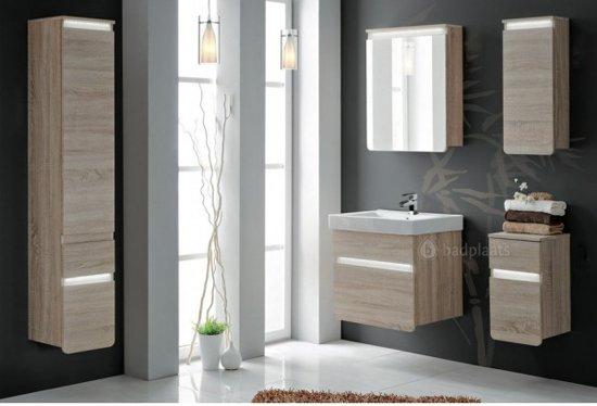 Bol.com badkamermeubel sydney zonder spiegel licht eiken