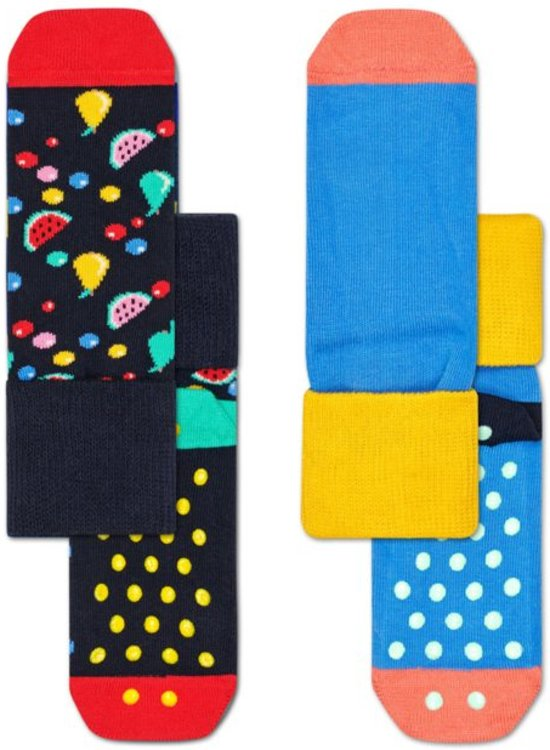 Happy Socks 2-Pack Antislip, Fruit Salad, 2-3 jaar, Maat 24-26