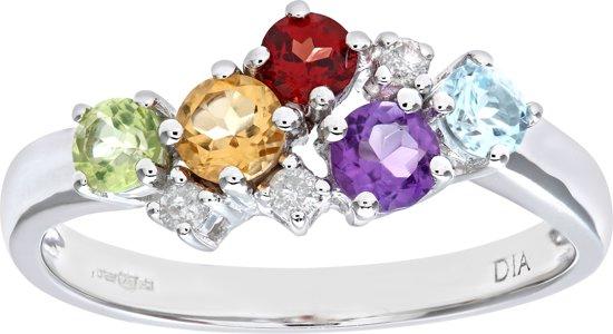 9k Wit Gouden Multi Edelsteen Diamant Ring