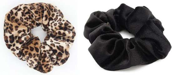 BY-ST6 - Scrunchie Haarelastiek - Duopack/ set  - kleuren zwart + bruine tijger/ panter print - velvet - haarelastiek - one size