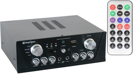 Skytronic Karaoke Amplifier FM-USB-SD-Rem Zwart