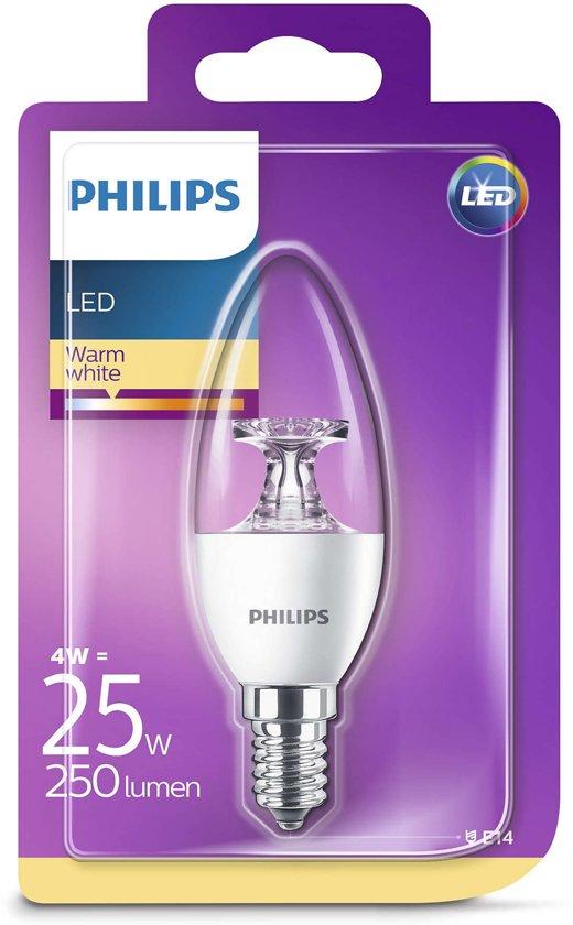 Philips LED kaars E14 4W (25W) warmwit helder