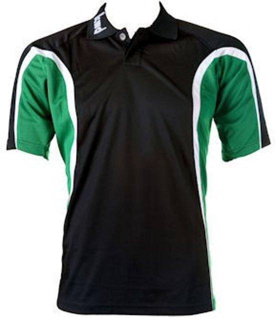 KWD Polo Fresco korte mouw - Zwart/groen/wit - Maat S