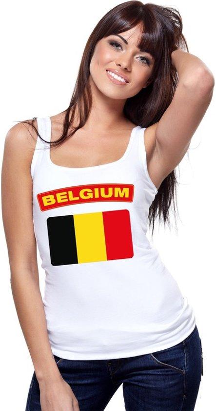 Singlet shirt/ tanktop Belgische vlag wit dames M