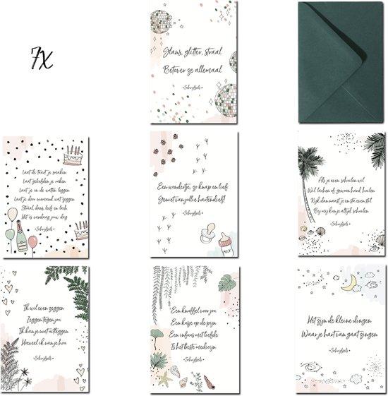 Wenskaarten Set - 7 Populaire Kaarten - Verjaardagskaart - Geboortekaart - Steun Kaart - Bedanktkaart - Felicitatie Kaart - Zomaar Kaart - Beterschapskaart