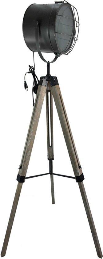 bol | industriële vloerlamp nominate hout metaal