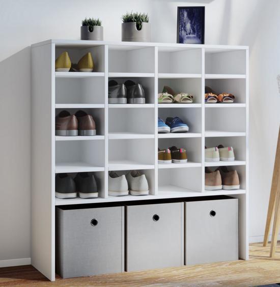 Wit Schoenenrek Ikea.Schoenenkast Schoenenrek Hinsal Xl 100 Cm Hoog 20 Vakken Wit