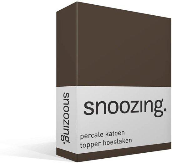 Snoozing - Topper - Hoeslaken - Percale katoen - Tweepersoons - 120x200 cm - Percale katoen - Bruin