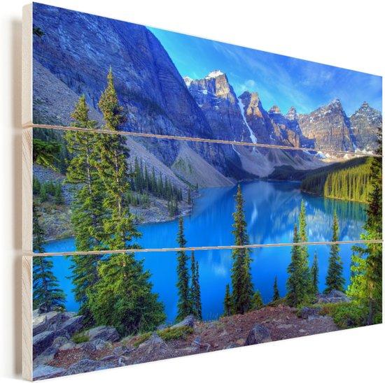 Kleurrijke omgeving in het Nationaal park Banff in Canada Vurenhout met planken 60x40 cm - Foto print op Hout (Wanddecoratie)