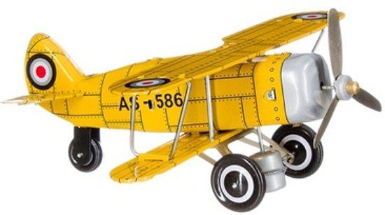 Retro blikken dubbeldekker vliegtuig 20 cm