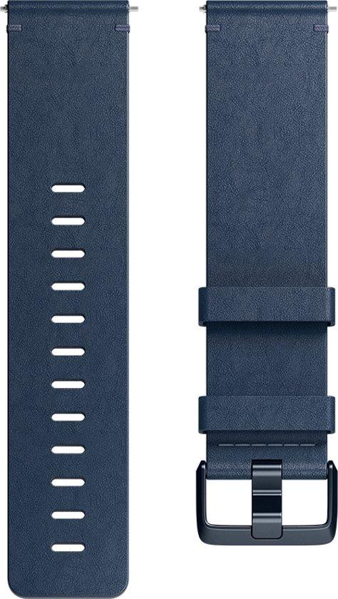 Fitbit Versa (Lite) leren bandje - Middernacht blauw - Large