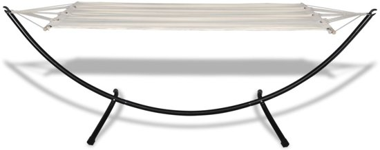 vidaXL - Hangmat Katoenen hangmat met stalen standaard crèmekleurig