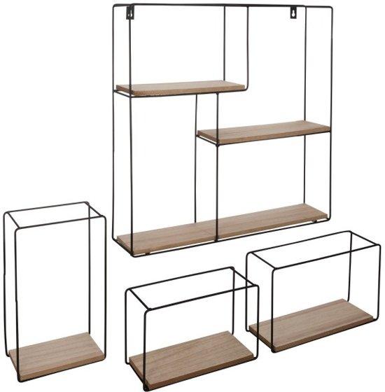 Wandplank Zwart Metaal Hout.Metalen Wandrek Vierkant Met 3 Rechthoekige Wandrekjes Wandbox Wandplank 49 X 48 Cm Zwart Metaal En Mdf Set Van 4