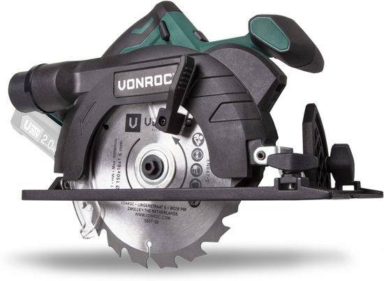VONROC Accu Cirkelzaag VPower 20V  (zonder accu) – 150mm - Incl. Zaagblad, parallelgeleider en opbergtas