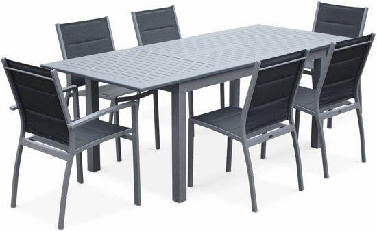 Verrassend bol.com | Tuinmeubel met 6 stoelen, Tuintafel met verlengstuk, 150 NV-05