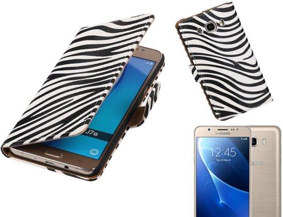 MP Case Zebra Bookstyle Hoes voor Galaxy J7 (2016) J710F Wit in Wellerlooi