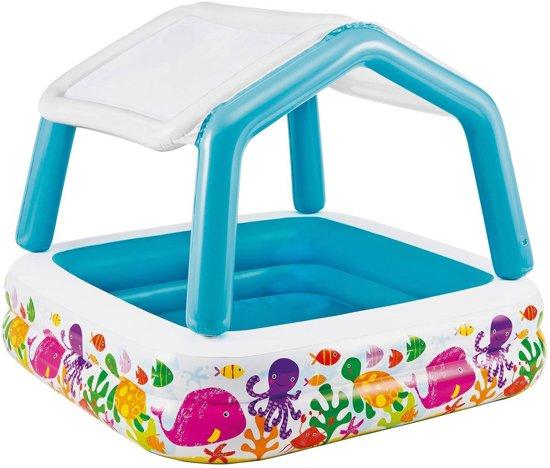 Intex kinderbad zwembad jumbo met dak for Zwembad vierkant intex