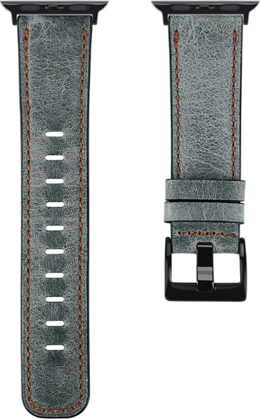 Horloge bandje leer wax grijs geschikt voor Apple Watch 42/44mm