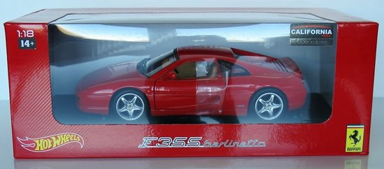 Hotwheels 1:18 Ferrari F355 Berlinetta - 1994, Rood met beige interieur