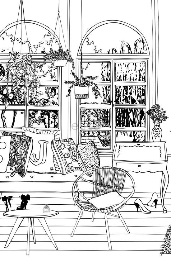 bol.com | vlies photowallXL tekening woonkamer tuinzicht - 158812 ...
