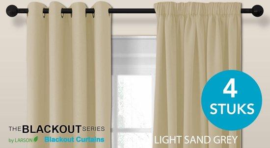 bol.com | Luxe blackout gordijn met ringen – licht zandgrijs 3x2.5m ...