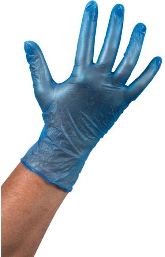 Vinyl Handschoen ongepoederd blauw Maat: S