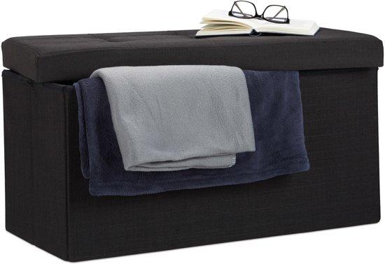 relaxdays opvouwbare zitbank - linnen - zitkist met opslagruimte - bank - 38 x 76 x 38 cm zwart