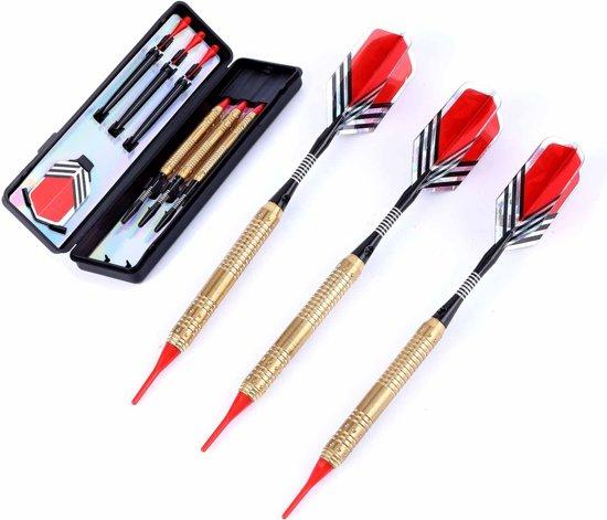 #DoYourDart - 3x Softtip dartpijlen - koperen barrel - aluminium shafts, 6x flights incl. Dartetui - 18,4g totaal gewicht pijlen - goudkleurig