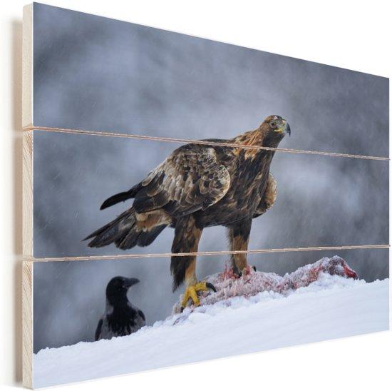 Steenarend in een sneeuwstorm Vurenhout met planken 90x60 cm - Foto print op Hout (Wanddecoratie)