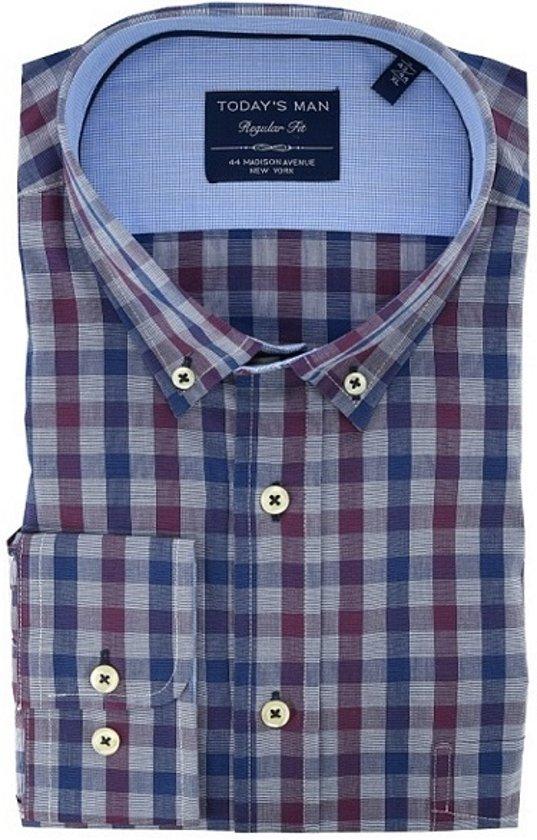 Maat Overhemd Man.Bol Com Today S Man Overhemd Heren Blokjes Motief Blauw M Maat M