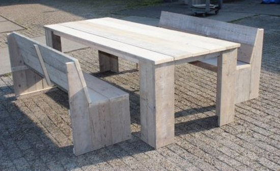 Steigerhout tuinset Klassiek -tafel 200x80-2 banken