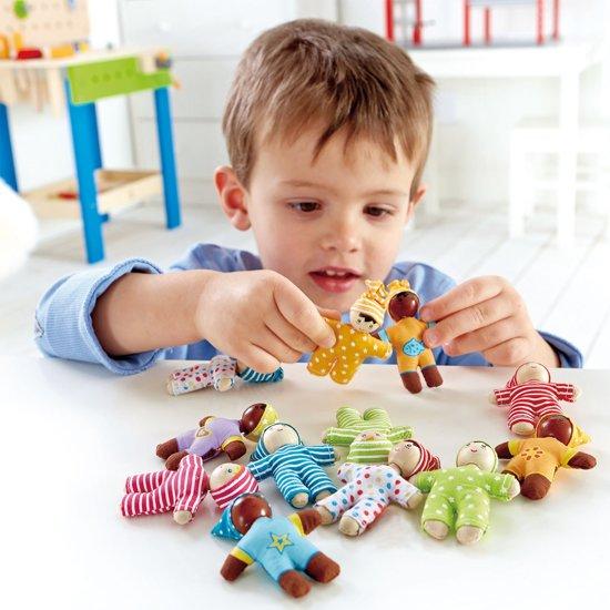 Hape houten poppenhuis poppen Happy Babies (per stuk)