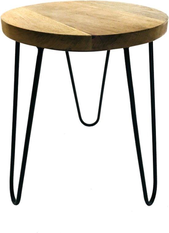 Metaal Hout Salontafel.Bol Com Bijzettafel India Metaal Hout Zwart Bruin 35 X 35 X