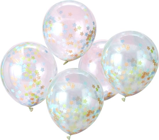 Ginger Ray Make A Wish - Ballon gevuld met multicolor ster confetti Ø 28 cm - Set-5 Valentinaa
