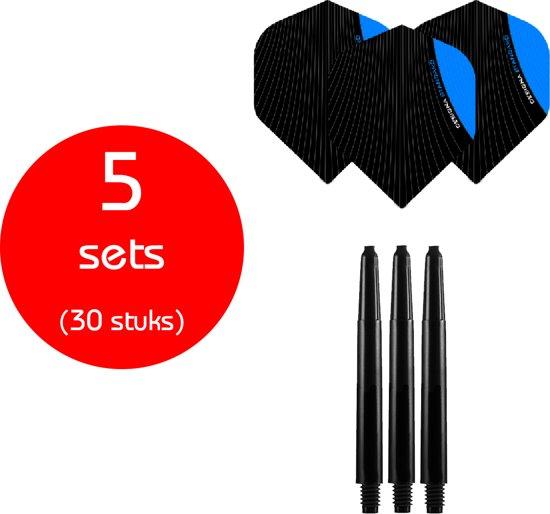 Dragon Darts - 5 sets (30 stuks) - medium - darts shafts - inclusief - infusion - darts flights - blauw