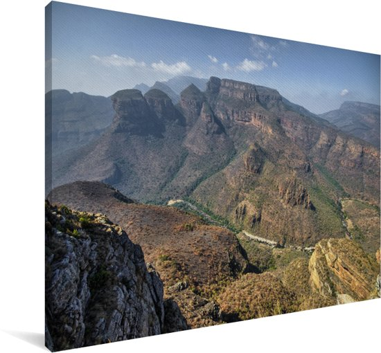 De Three Rondavels bij de beroemde kloof in Zuid-Afrika Canvas 120x80 cm - Foto print op Canvas schilderij (Wanddecoratie woonkamer / slaapkamer)
